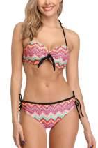 Vegatos Women's Underwire Padded Bikini Swimsuit Triangle Two Piece Bathing Suit