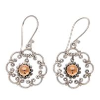 NOVICA .925 Sterling Silver Dangle Earrings with Yellow Gold Plated Accents, Delightful Denpasar'