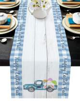 Edwiinsa Happy Easter Y'all Wood Grain Table Runner-Cotton Linen-Small 36 inch, Farm Truck Carry Bunny's Butt Blue Check Rectangle Placemats for Kitchen Coffee/Dining Bedroom Living Room,Scarfs Decor