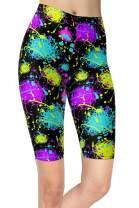 sissycos Women's Artistic Splash Printed Biker Shorts Buttery Soft Workout Leggings