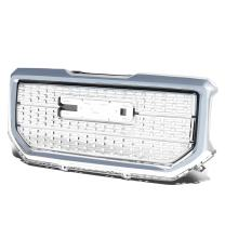Replacement for GMC Sierra 1500 ABS Denali Style Front Bumper/Hood Grille/Grill (Chrome)