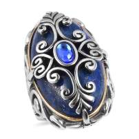 Lapis Lazuli Blue Crystal Cocktail Ring Stainless Steel Black Oxidized Jewelry for Women Mothers Day Gifts