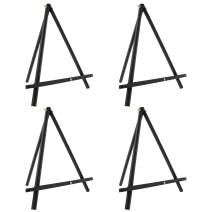 "U.S. Art Supply 12"" High Black Wood Display Stand A-Frame Artist Easel (Pack of 4) - Adjustable Wooden Tripod Tabletop Holder Stand for Canvas, Painting Party, Kids Crafts, Photos, Pictures, Signs"
