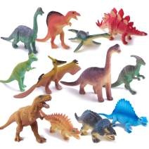 """Peruser Dinosaurs Toys 12-Pack 5"""" to 7"""" Realistic Dinosaur Figures with Dinosaur Book, Kids and Toddlers - Great Gift Set, Birthday Present, or Party Favor!"""