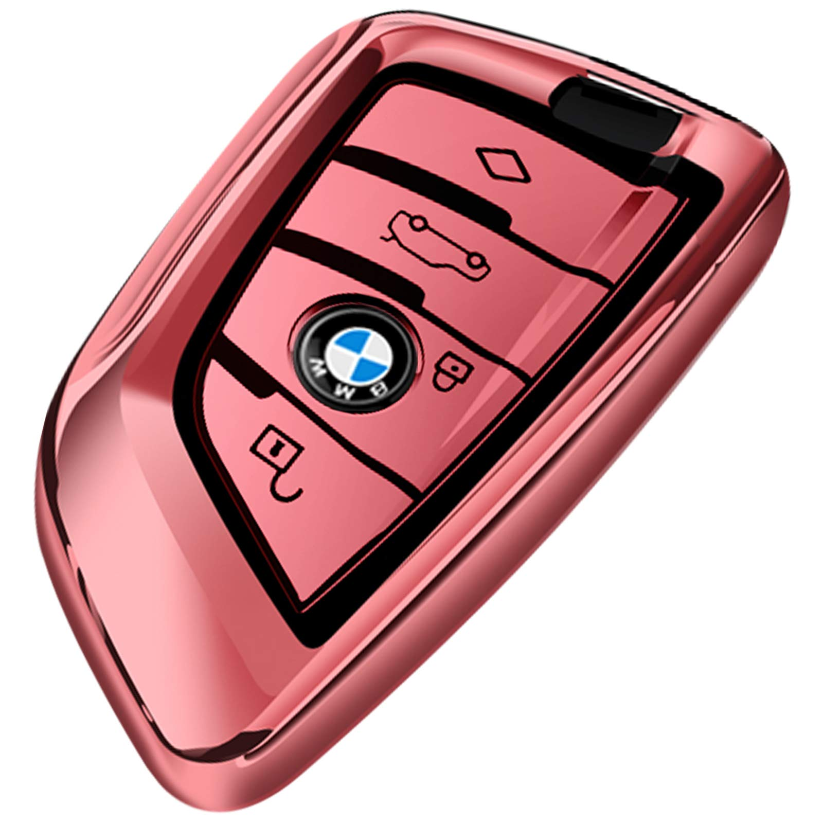 Uxinuo for BMW Key Fob Cover Full Protection Soft TPU Key Fob Case Compatible with BMW X1 X2 X3 X5 X6 and 5 Series 2018 7 Series 2017 up 2 Series and 6 Series (GT) Keyless Entry Rose Gold