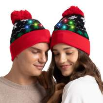 Christmas in The Air, LED Christmas Colorful Light-up Hat Stylish Knitted Sweater Xmas Party Beanie Cap Unisex, 1/Pkg…