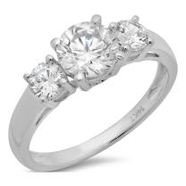 Clara Pucci 1.4 CT Round Cut Solitaire Three Stone Ring 14K White Gold Anniversary Engagement Wedding Band