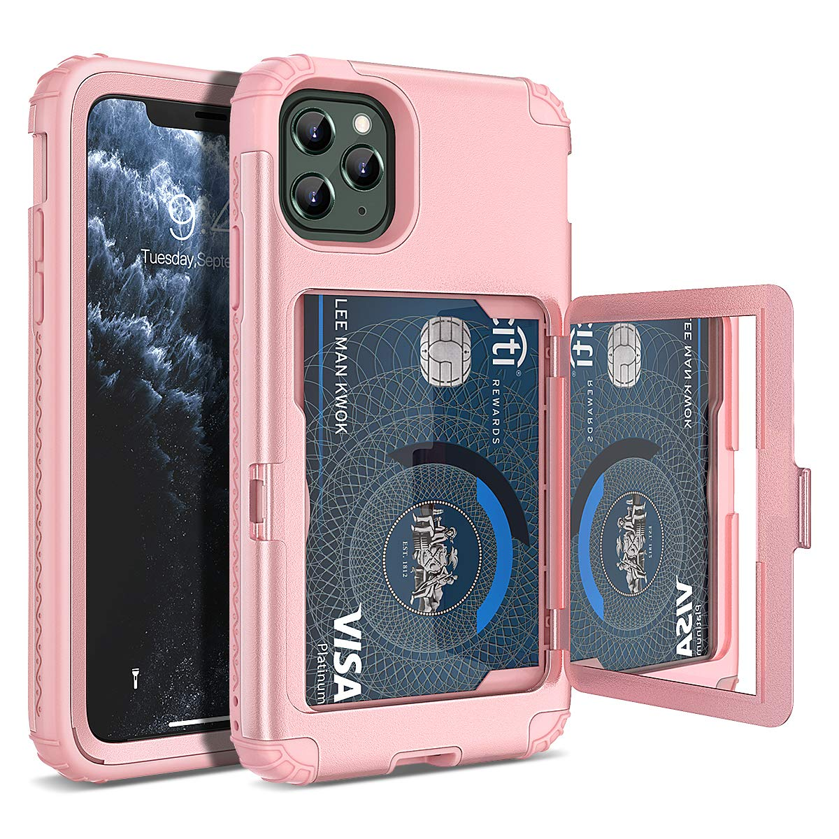 iPhone 11 Pro Max Wallet Case, WeLoveCase Defender Wallet Card Holder Cover with Hidden Mirror Three Layer Shockproof Heavy Duty Protection All-Round Armor Protective Case for iPhone 11 Pro Max Pink