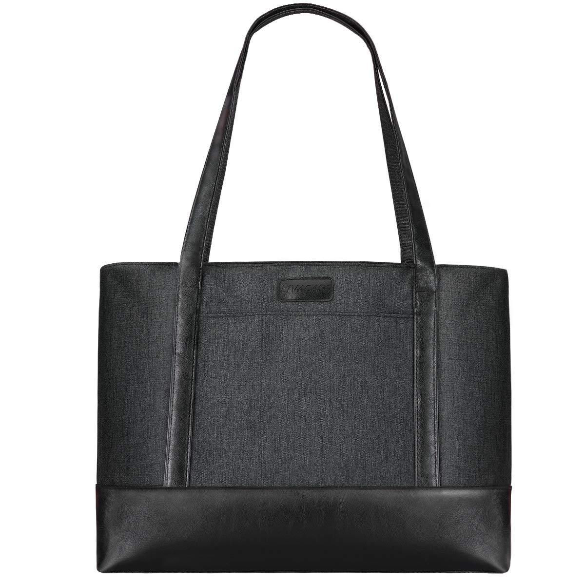 LIVACASA Laptop Tote Bag Women Fits 15.6 Inch Shoulder Bag Water Resistant Lightweight PU leather Multi Use Stylish Handbag