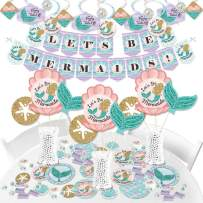 Big Dot of Happiness Let's Be Mermaids - Baby Shower or Birthday Party Supplies - Banner Decoration Kit - Fundle Bundle