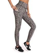OMANTIC Leopard Pattern Yoga Pants for Women High Waist Leggings with Pocket (Pants-Leopard, XXL)