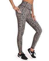 OMANTIC Leopard Pattern Yoga Pants for Women High Waist Leggings with Pocket (Pants-Leopard, XXL)