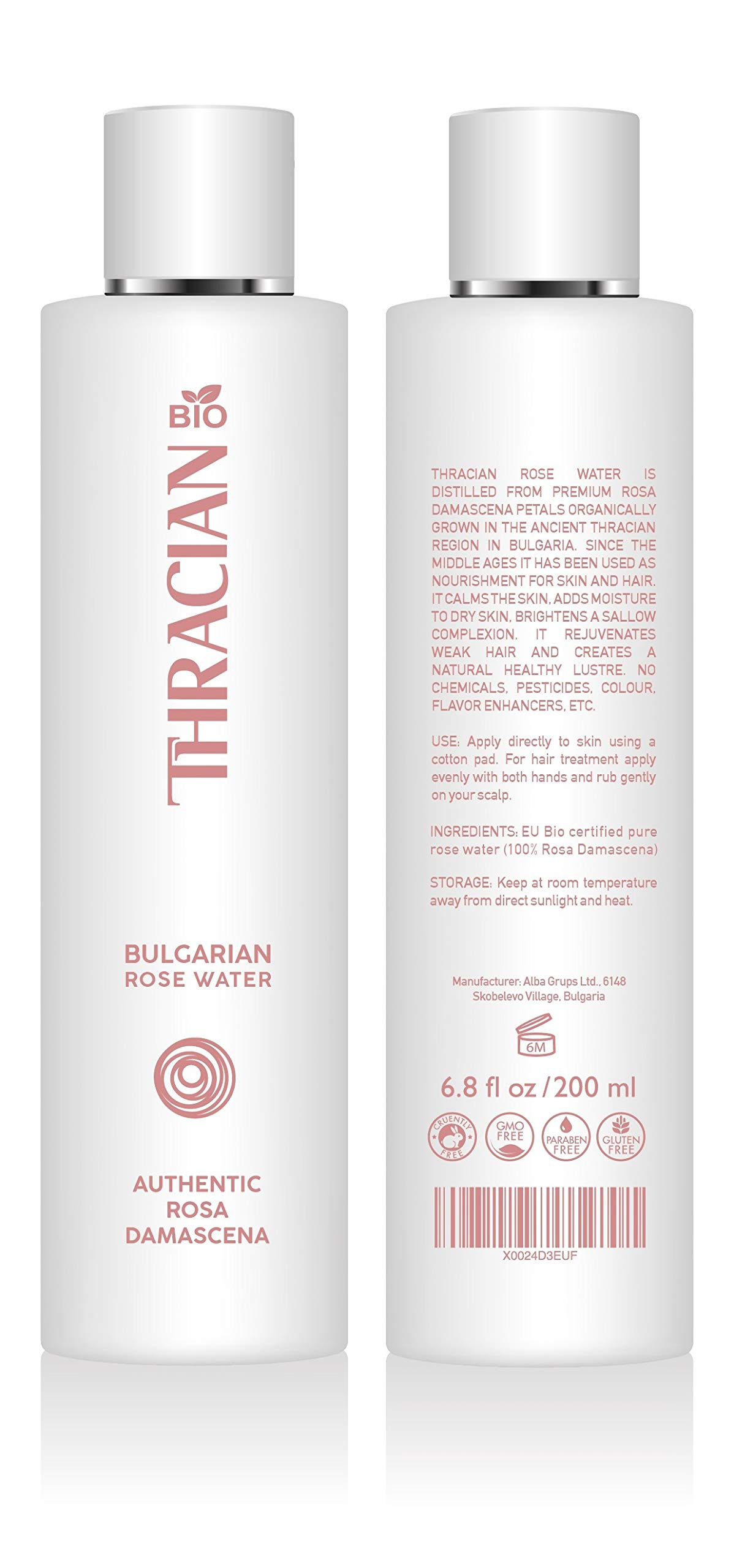 Thracian BIO 100% Pure Bulgarian Rose Floral Water, Skin and Hair Toner, 6.8 Fl oz, 200 ml, Distilled in Bulgaria, No Added Fragrance, Vegan, Cruelty-Free, Responsibly Sourced and Alcohol Free