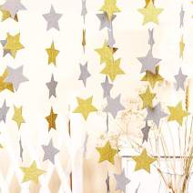 50 ft Twinkle Star Paper Silver & Gold Garland Bunting Banner Hanging Glittery Decoration, Decor for Birthday Party Baby Shower Christmas Weddings Christenings Barbecue Fetes Gard - 6 Pack