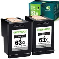 GREENBOX Remanufactured HP Ink Cartridge 63 Replacement for HP 63 63XL for HP OfficeJet 3830 5255 5258 Envy 4520 4512 4513 4516 DeskJet 1112 1110 3630 3632 3634 2130 2132 Printer (2 Black)