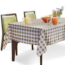 YEMYHOM Rectangle Tablecloth 60 x 84 Inch Spill-Proof Oil-Proof Microfiber Table Cover Machine Washable Indoor Outdoor Rectangular Table Cloth for Spring Summer Party Pic (Yellow and White Checkered)