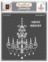 CrafTreat Chandelier Stencils for Painting on Wood, Canvas, Paper, Fabric, Floor, Wall and Tile - Shine Bright - 6x6 Inches - Reusable DIY Art and Craft Stencils for Home Decor