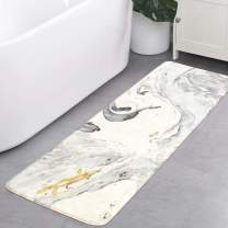 HAOCOO Bath Rug Runner 20x59 inch Beige Marble Velvet Bath Mat Non-Slip Modern Long Bathroom Rug Soft Luxury Microfiber Machine-Washable Floor Rug Carpet for Tub Shower