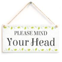 "Meijiafei Please Mind Your Head - Beautiful Home Accessory Novelty Gift Sign Functional Warning Sign 10""x5"""