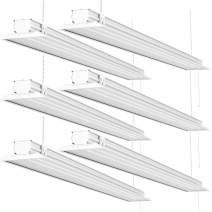 Sunco Lighting 6 Pack Flat LED Shop Light, 4 FT, Linkable Double Integrated LED, 40W=300W, 5000K Daylight, 4500 LM, Clear Lens, Plug in, Suspension Mount, Pull Chain, Garage - ETL + Energy Star