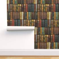 Spoonflower Peel and Stick Removable Wallpaper, Books Book Library Vintage Literary Literature Kids Print, Self-Adhesive Wallpaper 24in x 36in Roll