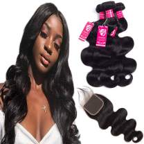 ROSEBUD Brazilian Body Wave Human Virgin Hair Weave 3 Bundles 12 14 16 inch 8A 100% Unprocessed Natural Black with 10 inch Lace Closure