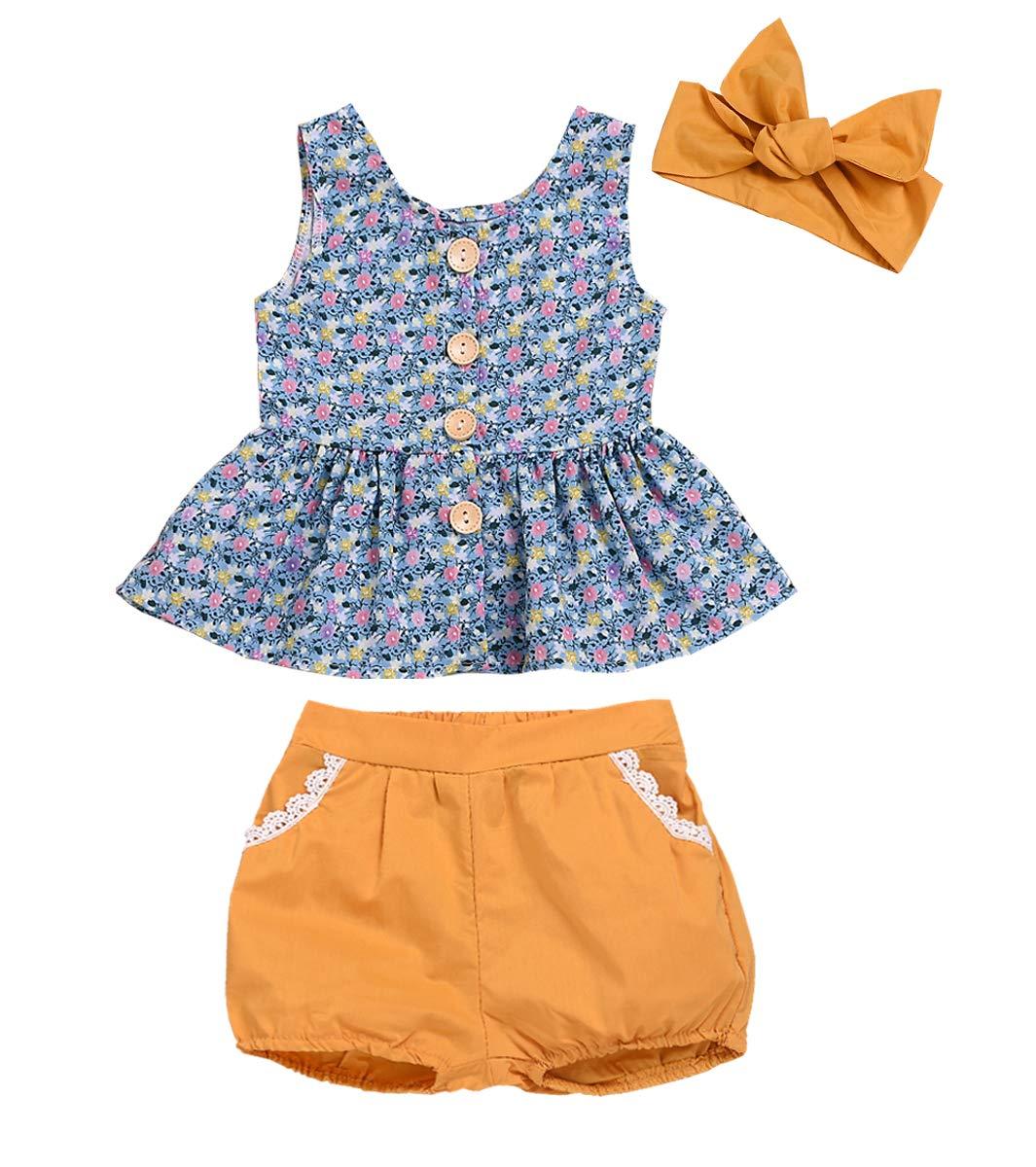 Kids ToddlerBaby Girls Shorts Outfits Set Floral Print Ruffle Dress Shirt Tops+Short Pants Summer Dresses 3Pc Clothes Set