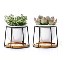 POTEY Ceramic Succulent Planter Pots - 3 Inch Modern Century Indoor Cactus Tabletop Container with Matte Black Metallic Stand with Watering Drain Holes, Set of 2, 211121