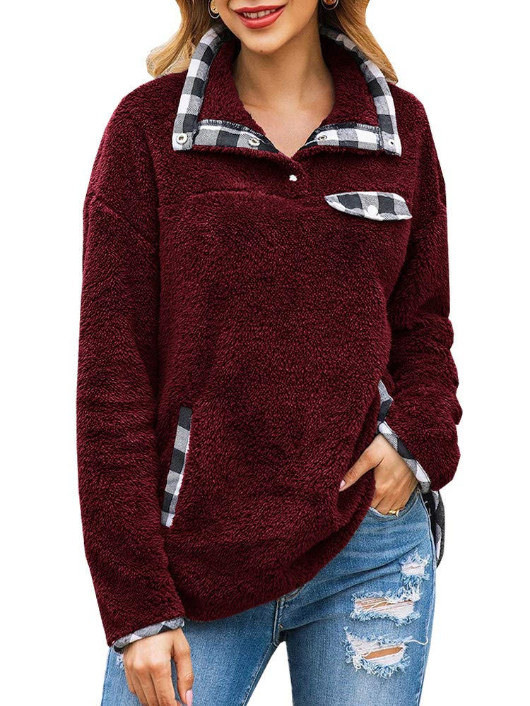 Womens Sherpa Pullover Sweatshirts Fuzzy Fleece Plaid Patchwork Button Up Long Sleeve Casual Loose Outwear Tops with Pockets