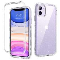 DOMAVER iPhone 11 Case Crystal Clear Glitter 3 in 1 Heavy Duty Hybrid Hard PC Cover Flexible TPU Bumper Shockproof Protective Phone Casse for iPhone 11 2019 (6.1 Inch),Transparent