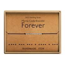 Best Friends Morse Code Forever Bracelet 925 Sterling Silver Handmade Bead Adjustable String Bracelets Inspirational Jewelry for Women
