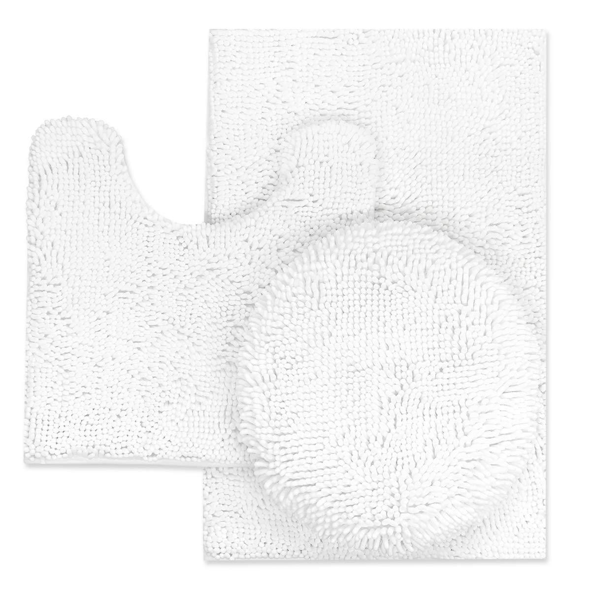 TREETONE Chenille Bath Mat 3 Piece Bathroom Rugs Set, 20x20 Inchs U-Shape Contoured Toilet Mat & 20x32 Inchs Rug & 1 Lid Cover,Soft,Water Absorbent Plush Rugs for Tub Shower & Bath Room -White