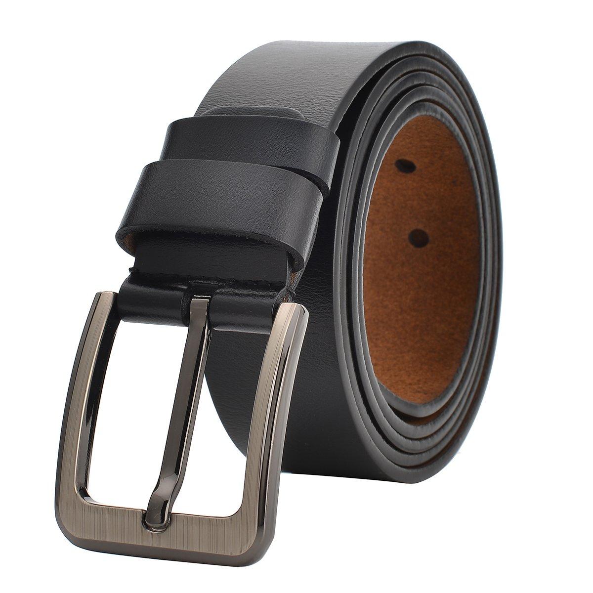 "35""-62"" Waist Men Dress Belt Genuine Leather Jeans Casual for Regular & Big and Tall (37""-39"" Waist, Black)"