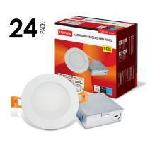 OSTWIN 6 Inch Ultra-Thin LED Recessed Ceiling Light with J-Box, 3000K, 15W (80 Watt Repl) Dimmable Can-Killer Downlight, IC Rated 1125LM High Brightness (24 Pack) ETL and Energy Star Certified