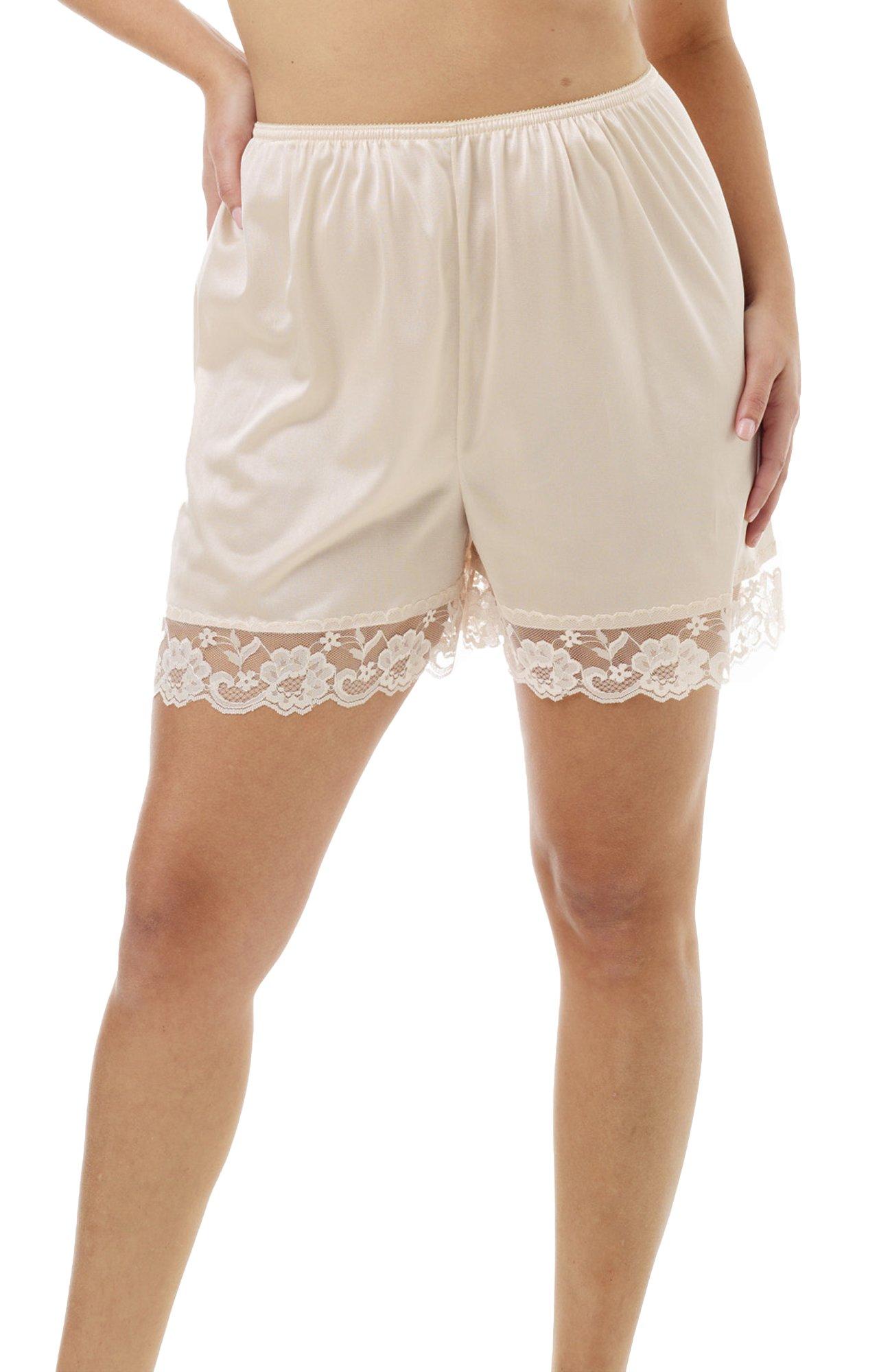 Underworks Pettipants Nylon Culotte Slip Bloomers Split Skirt 4-inch Inseam 3-Pack
