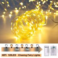 ANJAYLIA Chasing Fairy Lights, 40ft 120 LEDs Battery Operated LED String Lights with Remote Control Timer Waterproof Dimmable Decorative Fairy Lights Christmas Lights (Warm White)