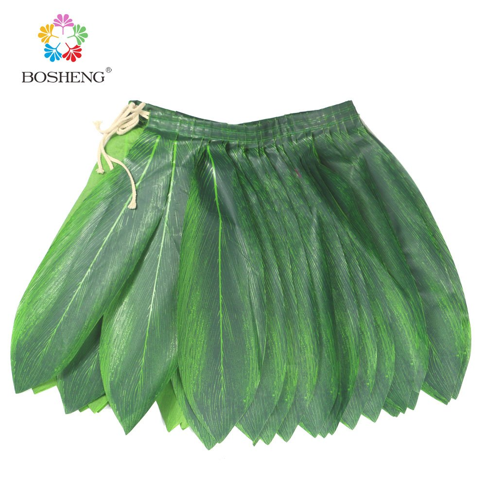 BOSHENG Ti Leaf Hula Skirt Luau Party Accessory Green Skirt Adult Size