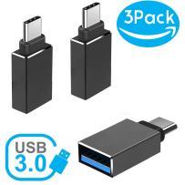 Hhusali USB-C Adapter Type-C to USB 3.0 Adapter (3-Pack) (Black)