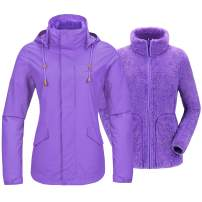 CAMEL Women's 3 in 1 Ski Jacket Waterproof with Reversible Warm Fleece Jacket Detachable Hooded Outdoor Snow Coat