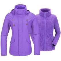 CAMEL Women's 3 in 1 Ski Jacket Waterproof with Reversible Warm Fleece Jacket Detachable Hooded Outdoor Snow Coat