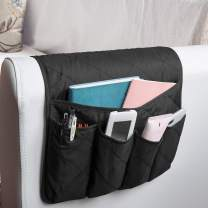 MDSTOP Sofa Couch Chair Armrest Organizer, Fits for Phone, Book, Magazines, TV Remote Control(Black)