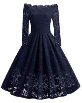 WERIDEDIRT Women's Vintage Floral Lace Boat Neck Cocktail Formal Swing Dress (Blue-Long Sleeve, M)