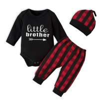 Baby Boy Clothes Set Little Brother Romper Top and Red Plaid Pants with Hat Long Sleeve Fall Winter Outfit