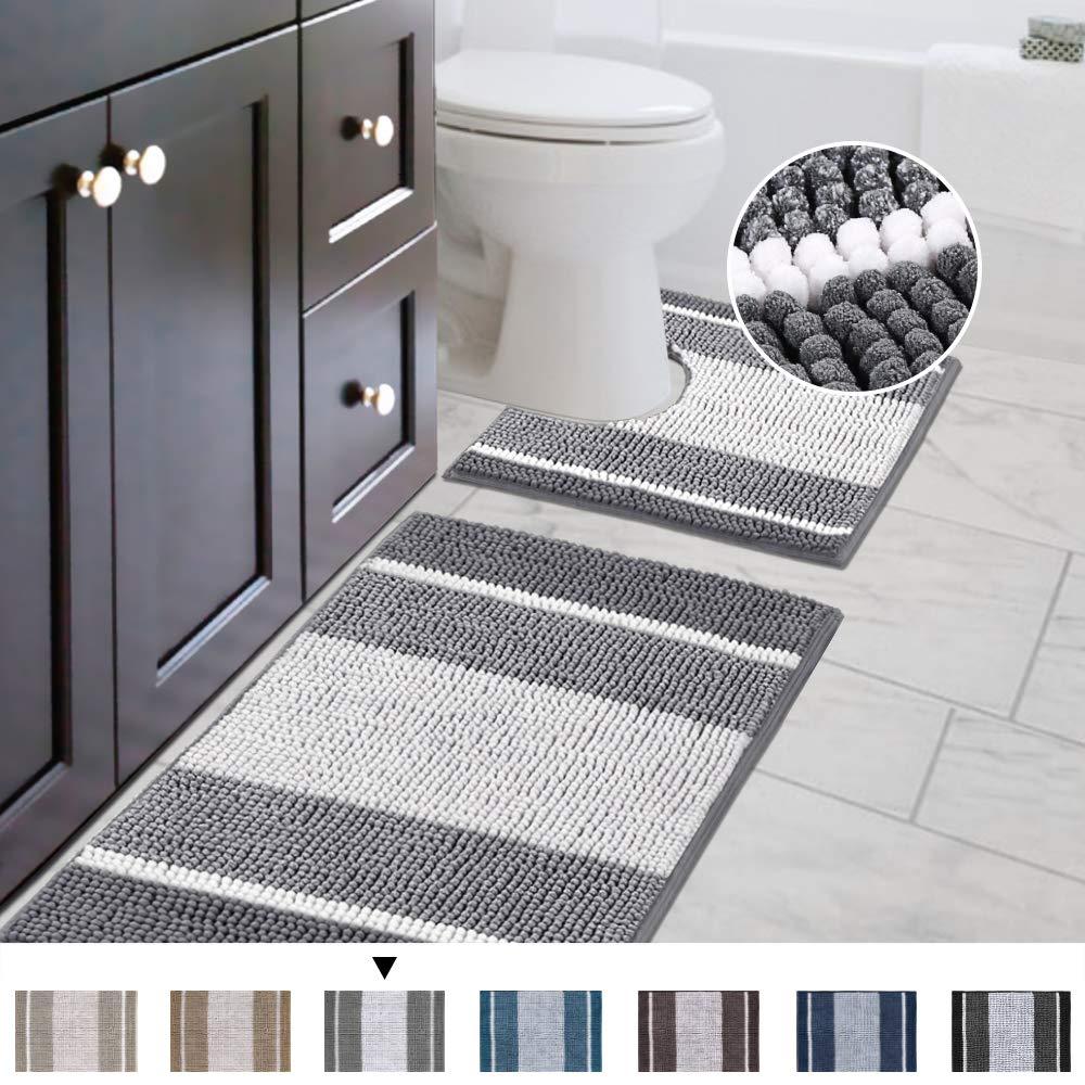 Bathroom Rugs Luxury Chenille 2-Piece Bath Mat Set, Soft Plush Anti-Slip Shower Rug + Toilet Mat Microfiber Shaggy Carpet, Super Absorbent Machine Washable(Curved Set, Gradient Gray)