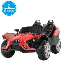 Uenjoy 2 Seats Kids Car 12V Ride On Racer Cars Battery Operated Electric Cars w/ 2.4G Remote Control,Spring Suspension Wheels,4 Speeds,LED Lights,Music,Bluetooth,AUX Cord,USB Port,Red