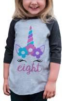 7 ate 9 Apparel Kids Eighth Birthday Unicorn Raglan Tee Grey