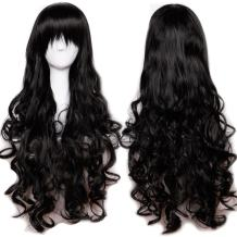 32inch Long Curly Black Cosplay Costume Wigs Women Heat Resistant Synthetic Hair Full Wig With Long Bangs Anime Party Halloween Fancy 80cm