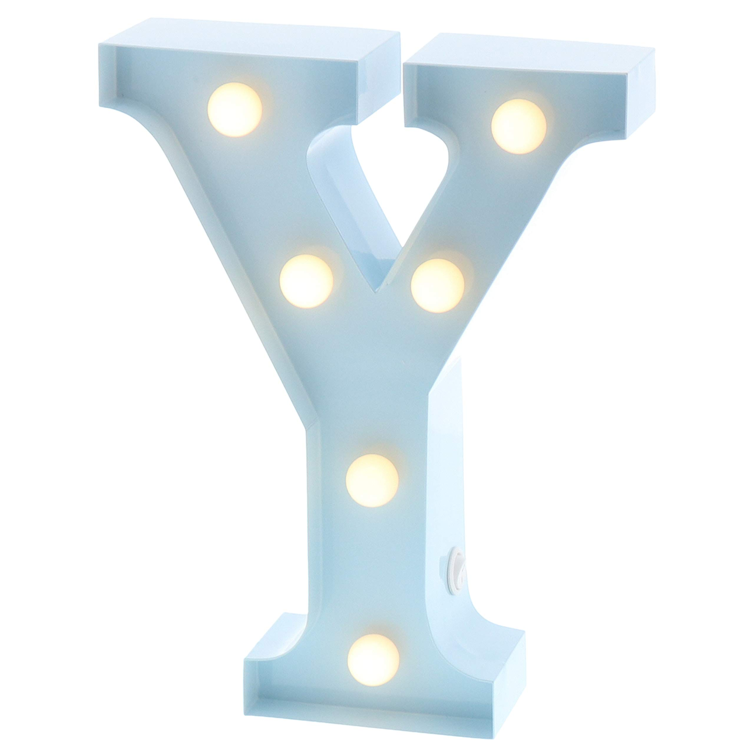 """Barnyard Designs Metal Marquee Letter Y Light Up Wall Initial Nursery Letter, Home and Event Decoration 9"""" (Baby Blue)"""