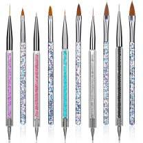 Senignol Nail Art Liner Brush Pen (10PCS) Acrylic Nail Brush Set Professional Salon Nail Art Brushes Double Ended Dotting Tools Pen Gel Nail Painting Brush, with Liquid Glitter Handle