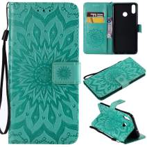 MEUPZZK Honor 8X Premium Wallet Case, 3D Sunflower Embossed with Shockproof Kickstand, Card Holder, Wristlet, Magnetic Closure Flip Protective Cover for Huawei Honor 8X Green